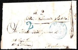 """1852. ENVUELTA A MATANZAS. FECHADOR """"REYES/ISLA DE CUBA"""" EN AZUL. MUY RARA. - Prephilately"""