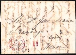 "1848. ENVUELTA A LA HABANA. FECHADOR ""REMEDIOS/ISLA DE CUBA"" EN ROJO. RARÍSIMA. - Prephilately"