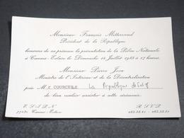 FRANCE - Faire Part De Mr Joxe Pour La Cérémonie De Présentation De La Police Nationale à Cannes - L 20374 - Andere