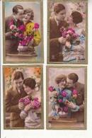 Fantaisies - Couples  -  4  Tres Belles Cartes Avec Les Bords Dorés   -  Achat Immédiater Avril - Couples