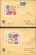 Marruecos SOBRE. 167/68. 1937. Juego Completo De Las Dos Hojitas Bloque En Dos Cartas De TETUAN A BRUSELAS. Al Dorso Lle - Spanish Morocco
