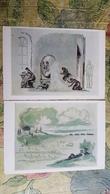 2 PCs Lot - Writer Leo Tolstoy. ANNA KARENINA By Piskarev ~ 1978  - Old Soviet Postcard - Rare! - Writers