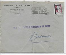 1962 - ALGERIE - TYPE DECARIS SURCHARGE EA Sur LETTRE De La BANQUE D'ALGERIE => BESANCON - Algérie (1924-1962)