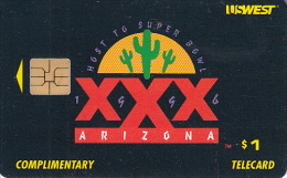 USA - Super Bowl XXX, US WEST Complimentary Telecard, Tirage 25000, 01/96, Used - Vereinigte Staaten