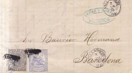 Año 1874  Edifil 145-141 10c Alegoria   Carta      Matasellos   Rombo Valladolid - Briefe U. Dokumente