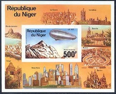 Niger C278, Bl 15 Zeppelin LZ-127, Imperf, Neuf** Sans Charniere, Scott C278 Imperf - Niger (1960-...)