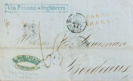 Chile . Agencia Postal Británica SOBRE. Yv . 1854. VALPARAISO A BURDEOS. Marcas PANAMA / TRANSIT , En Rojo, VIA PANAMA-I - Chile