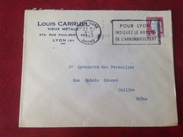 Lyon Gare Carruel  Vieux Métaux - Marcophilie (Lettres)