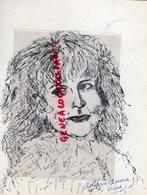 MADELEINE CHAPSAL ECRIVAINE SILHOUETTEE PAR MARIE ANNE RIEUF - DESSIN ENCRE NOIRE - Drawings