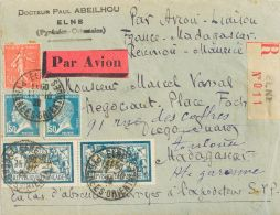 Air Mail Crash Covers  COVER. Yv 123(2), 181(2), 199. 1929. 5 Fr Blue, Two Stamps, 1,50 Fr Blue, Two Stamps And 50 Cts R - Aviones