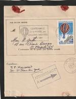 PAR BALLON MONTE   FLAMME PARIS - 1961-....