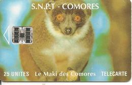 CARTE-PUCE-25U-SC7-SNPT COMORES-MAKI-UTILISE-V°N° Rouge 00086741-TBE - Comoros