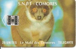 CARTE-PUCE-25U-SC7-SNPT COMORES-MAKI-UTILISE-V°N° Rouge 00086741 -a Droite-TBE - Comoros