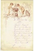 Ancien Menu. St.Hubert 1890. Enfants Nus Et Chat. - Menus