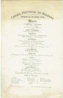 Ancien Menu. Conseil Provincial Du Brabant.1875. Maison Cayron, Restaurant Du Rocher De Cancale. - Menus