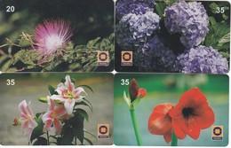 LOTE DE 4 TARJETAS DE BRASIL DE FLORES  (FLOR-FLOWER) TELERJ - Flores