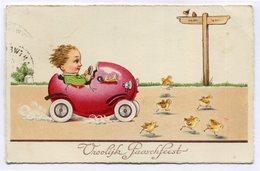 CPA - Carte Postale - Belgique - Joyeuses Pâques - Vroolyk Paaschfeest - Enfant - Voiture - 1934 ( CP4452 ) - Pâques