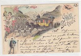 Gruss Aus Den Bergen - Postkutsche - Litho - 1897    (180722) - Gruss Aus.../ Grüsse Aus...