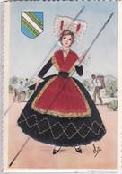 Champagne ;Jeune Femme En Costume Champenois (ajout Tissu) Blason . Vendangeur Arriére Plan - Champagne-Ardenne