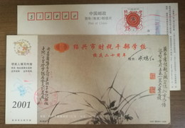 China 2001 Shaoxing Finance Tax School Postal Stationery Card Ancient Orchid Painting - Orchids