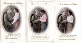 """3 Original Farb. Feldpost-Karten, Militär, Romantik 1.WK: """"Du Liegst Mir Im Herzen"""" Als Feldpost Gel. 1915 - Guerre 1914-18"""