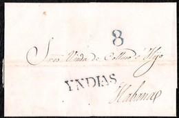 """1838. CAMPECHE A HABANA. MARCA """"YNDIAS"""" NEGRO ESTAMPADA A LA LLEGADA. MANÍFICA Y MUY RARA EN CARTA DE MÉXICO. - Mexiko"""