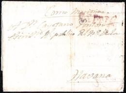 """1799. SANTA FEE A HABANA. ENVUELTA VIA LA CORUÑA. MARCA """"ESPAÑA"""" EN ROJO. RARA CIRCULACIÓN TRANSATLÁNTICA SIGLO XVIII. - Kolumbien"""