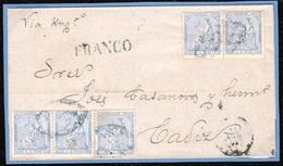 1871. SAN JUAN A CÁDIZ. 25 CTS. AZUL (5). MAT. PARRILLA COLONIAL CIRCULADA VÍA LA AGENCIA CONSULAR BRITÁNICA. - Amérique Centrale