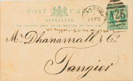 Marruecos Británico . Entero Postal SOBRE.  1895. 5 Cts Verde Sobre Tarjeta Entero Postal De Gibraltar De TETUAN A TANGE - Maroc (1891-1956)