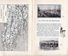 BROCHURE TOURISTIQUE RARE - BRETAGNE COTE SUD - 1925 - 6 Pages Imprimées Des Deux Côtés - Dépliants Touristiques