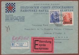 YUGOSLAVIA, REGISTERED-EXPRESS CHESS-SCHACH-ECHECS LETTER To SWITZERLAND 1950 RARE!!!!!!!!!!! - 1945-1992 Socialist Federal Republic Of Yugoslavia