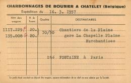 CHATELET  CHARBONNAGES DE BOUBIER 1957  CARTE EXPEDITION - Châtelet