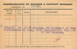 CHATELET  CHARBONNAGES DE BOUBIER 1958  CARTE EXPEDITION - Châtelet