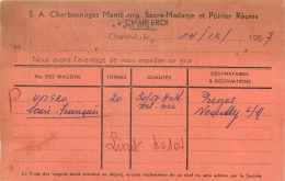 CHARLEROI  SA CHARLEROI MAMBOURG SACRE-MADAME ET POIRIER REUNIS 1957 CARTE EXPEDITION - Charleroi