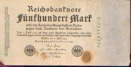 ALLEMAGNE – Reichsbanknote - 500 Mark – 07/07/1922 - [ 3] 1918-1933 : Repubblica  Di Weimar