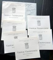 33 BORDEAUX 5 CHATEAU CHAMPCENETZ  ETIQUETTES GRAVEES PAR STERN 1920 - Bordeaux