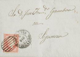 Castilla-La Mancha. Historia Postal SOBRE. 48. 1857. 4 Cuartos Rojo. CIFUENTES A SIGUENZA. Matasello Mixto PARRILLA Y Fe - Non Classificati