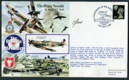 1990 GB RAF Flight Cover, Battle Of Britain, Spitfire Hawkinge Kent, Chivenor. Pilot Signed - Covers & Documents