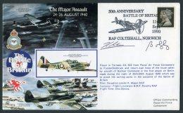 1990 GB RAF Flight Cover, Battle Of Britain,  Coltishall, Pilot Signed. Bomber Command, Tornado - 1952-.... (Elizabeth II)