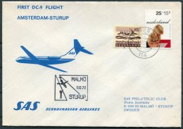 1972 Netherlands Sweden, SAS First Flight Cover Amsterdam - Sturup - Airmail