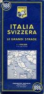 Carte Routière MICHELIN - N° 988 - Italie - Suisse - 1966 - Roadmaps