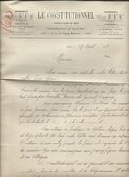 Paris   1892 - Lettre D'Abonnement Journal Le Constitionnel - 1800 – 1899