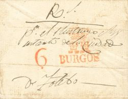 Castilla Y León. Prefilatelia SOBRE.  1834. BURGOS A TOLEDO. Marca BURGOS, En Azul (P.E.14) Edición 2004. MAGNIFICA. - ...-1850 Prefilatelia