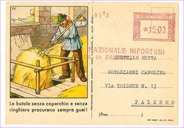 M6914 Pubblicitaria INA ISTITUTO ASSICURAZIONI INFORTUNI Annullo EMA 1950 Viaggiata Piccolo Strappeto In Alto - Advertising