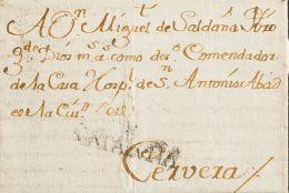 Cataluña. Prefilatelia SOBRE.  1762. BARCELONA A CERVERA. Marca + / CATALUÑA, En Negro (P.E.30) Edición 2004. BON - Espagne