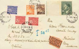 Bohemia Y Moravia  SOBRE. Yv 21, 42, 95. 1942. 10 H Castaño, 40 H Naranja, 10 K Verde Y Sellos De Tasas De 5 H, 1 - Bohemia Y Moravia