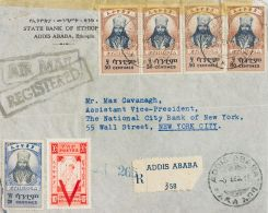 Ethiopia  COVER. Yv 225, 223, 241. 1945. 50 Cts Brown, Four Stamps, 20 Cts, Blue (negligible Fault) And 10 Cts Orange Ov - Etiopía