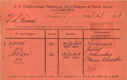 CHARLEROI S.A CHARBONNAGES MAMBOURG SACRE-MADAME ET POIRIER REUNIS  CARTE 1958 - Charleroi