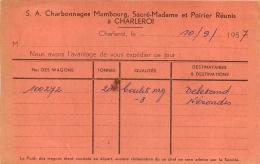 CHARLEROI S.A CHARBONNAGES MAMBOURG SACRE-MADAME ET POIRIER REUNIS 1957 - Charleroi