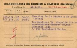 CHATELET CHARBONNAGES DE BOUBIER  1957 - Châtelet